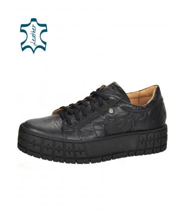 Gyűrött megjelenésű fekete cipők a fekete HANZA magas talpon DTE3402