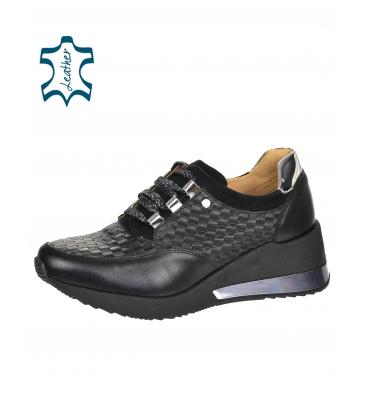 Fekete stílusos cipők, összefonódó 3D mintával DTE2118