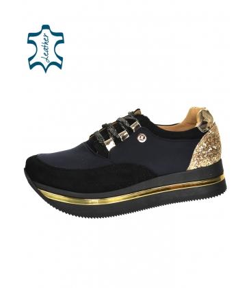 Fekete és arany cipők, arany brokáttal, fekete Karla talpon DTE3041
